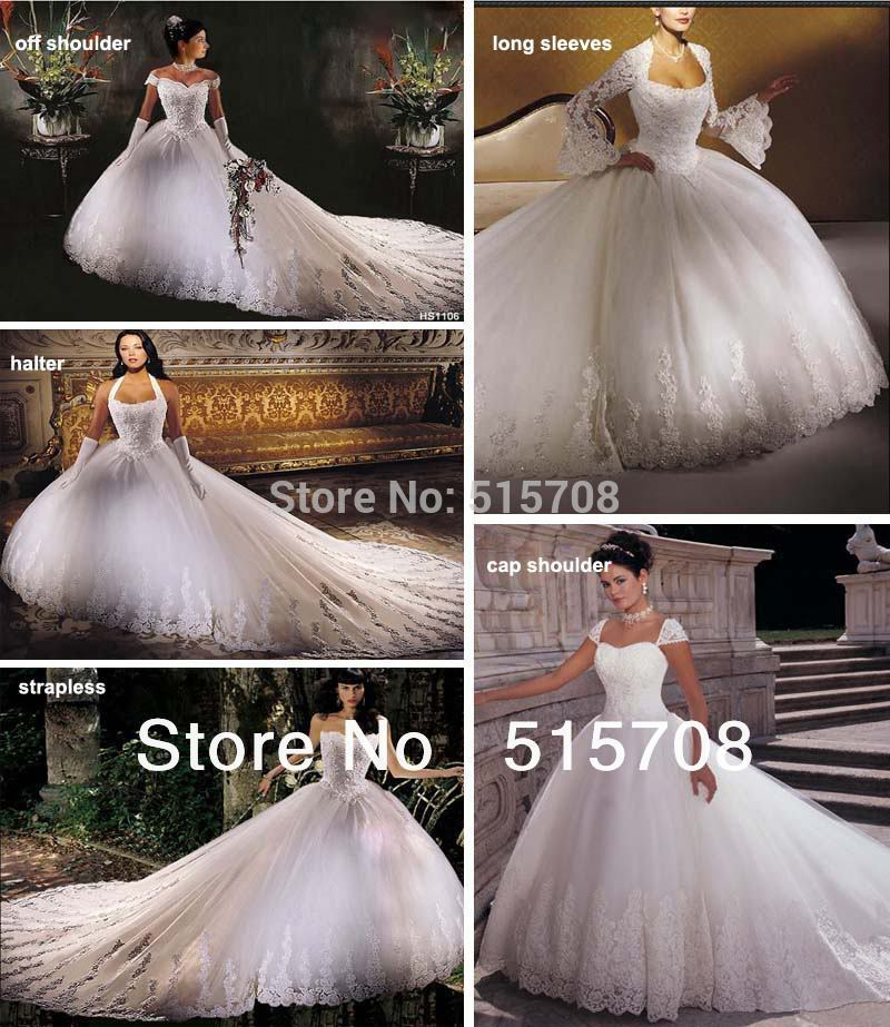 Ball Gown Wedding Dresses Long Trains : Gorgeous ball gown chapel train lace up long white ivory