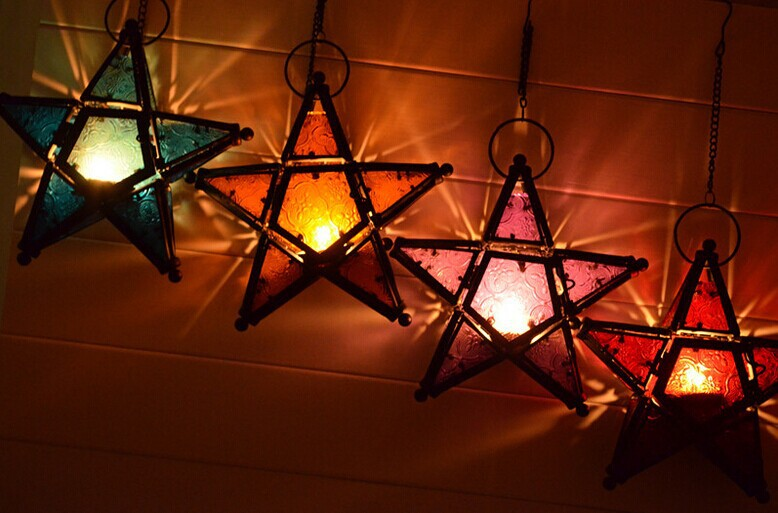 HIGHSUN Iron Lantern Moroccan style Star Glass Candle Holder Home Decoration(China (Mainland))