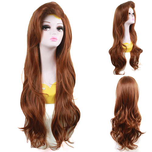 Free Shipping 70CM Women Synthetic Hair Princess Little Mermaid Ariel Wavy Brown Cosplay Wig(China (Mainland))