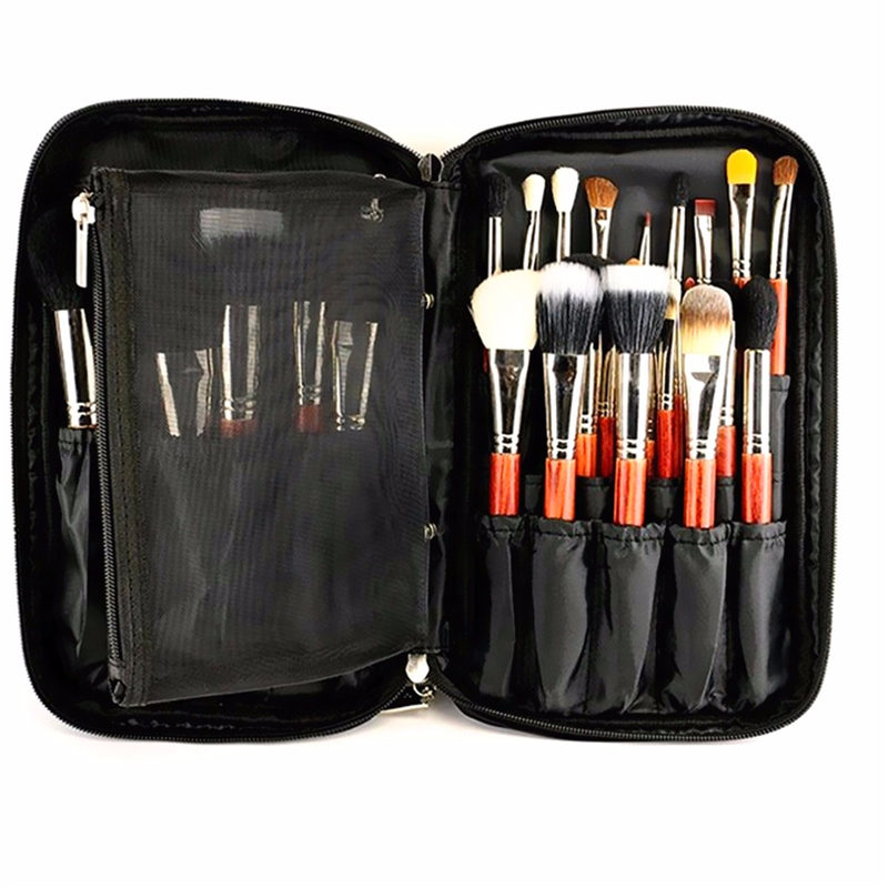 2016 New Arrival Fashion Black Nylon Cosmetic Tool Makeup Brush Bag Case Brushes Holder Pouch Kit Bag 27x16x4cm<br><br>Aliexpress
