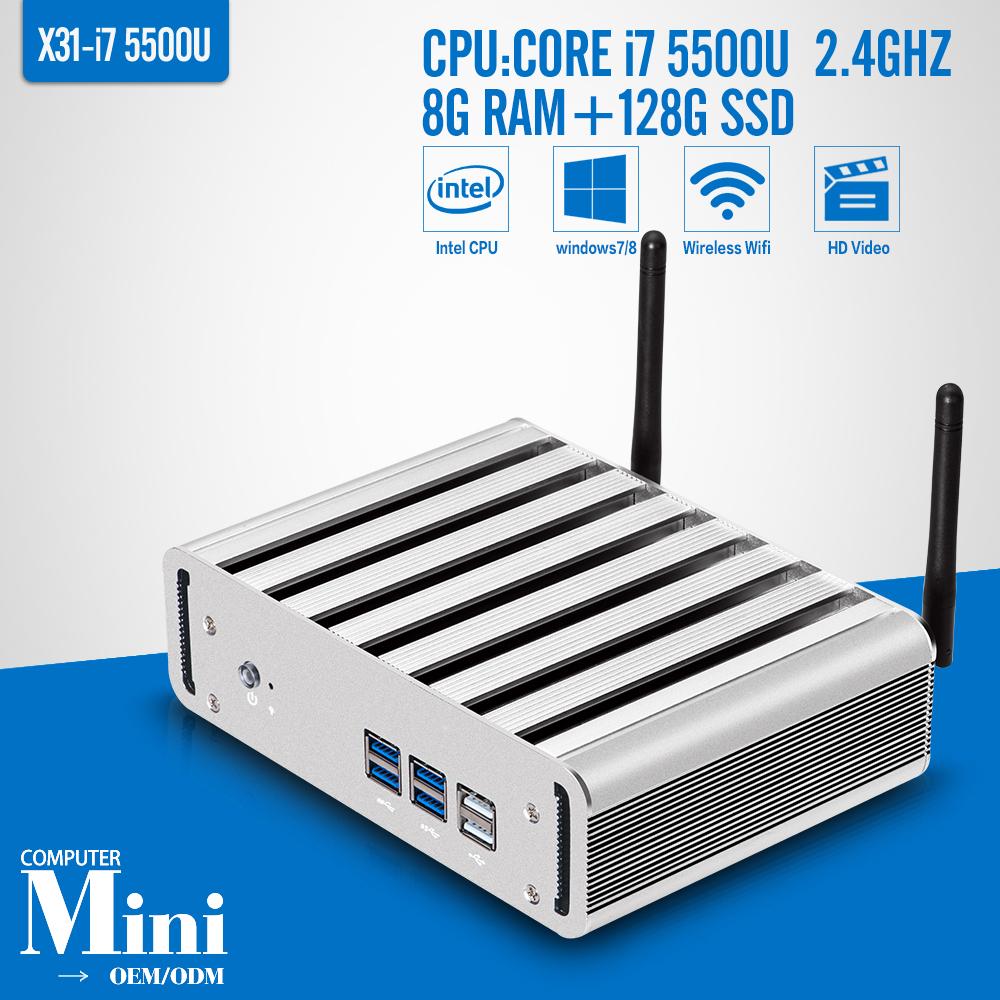 Small Desktop Computer With Core i7-5500u Processor Dual core 8G DDR3 RAM 128gb/256GB mSATA SSD Unit Mini PC 1080p supported(China (Mainland))