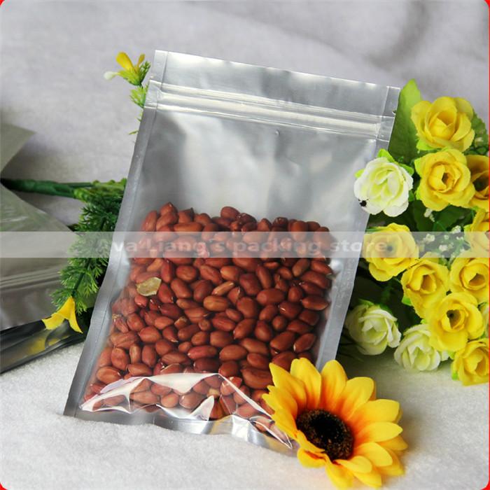 12x20cm 50pcs Translucent Aluminium foil Zip Lock Bags/ Silver Metallic aluminum Malar and front clear Resealable plastic pouch(China (Mainland))