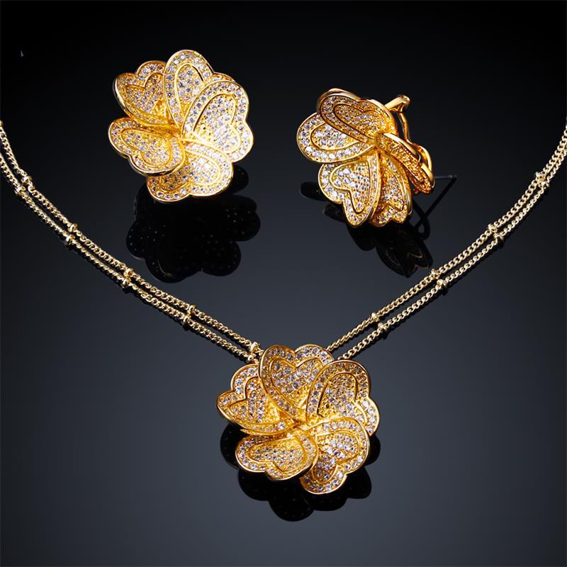 Sweet Look Women Elegant Flower Necklace Earrings Sets 18K Gold Plated Cubic Zirconia Romantic Engagement Statement Jewelry Set