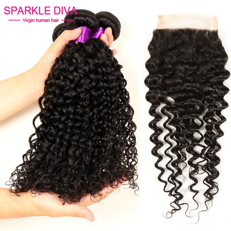3 Bundles Virgin Brazilian Curly Hair With Closure Wet And Wavy Virgin Brazilian Hair With Closure Brazilian Hair Weave Bundles