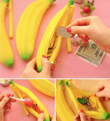 Retail Fashion Novelty Silicone Portable Banana Coin Pencil Case Purse Bag Wallet Pouch Keyring(China (Mainland))