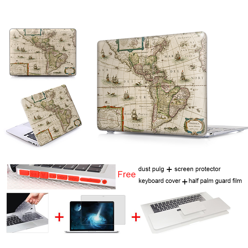 Old World Map Laptop Computer Bag For Apple Mac Macbook Pro 15 For Macbook 12 Inch Case + Silicone Keyboard Cover A1466(China (Mainland))