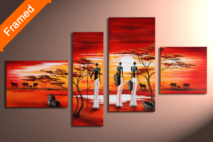 Hot sex African woman oil painting multi panels canvas wall art for friends gift decoration canvas