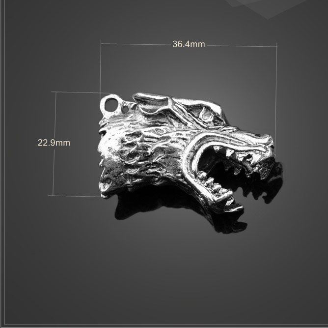 High 5 PCS/Lot 36.4mm*22.9mm antique silver charm diy animal wolf head charms