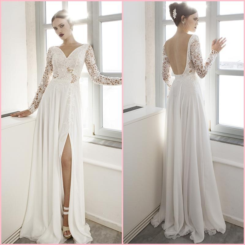 2015 New V-Neck A-Line Appliqued Chiffon Lace Bridal Dress Full Sleeves Sexy Backless Fascinating Wedding Long Split - Sare gu store
