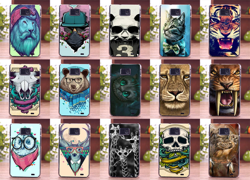 lovely animal design cell phone skin stand holder for smartphone Samsung Galaxy s2 custom Hard Phone Case Back Cover(China (Mainland))