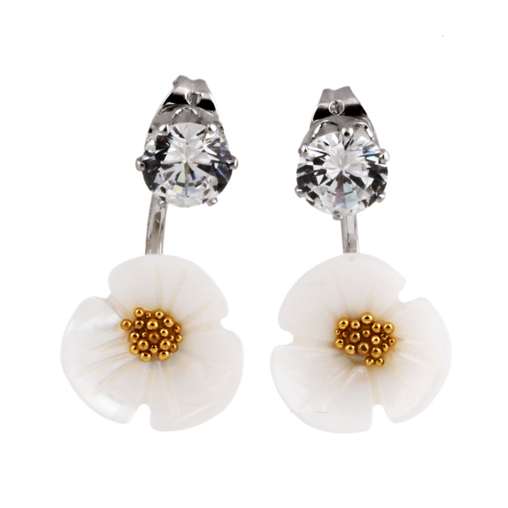 Fashion flower earring with crystal jewelry christmas gift