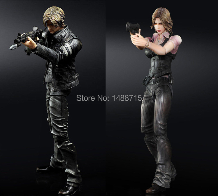 """Hot Game Resident Evil 6 Leon S. Kennedy Helena Harper 22CM/8.7"""" Action Figure Square Enix Play Arts Kai Toys New In Box(China (Mainland))"""