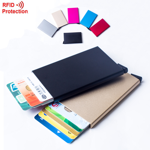 2016 Automatic Pop Up Click Slide Card Holder Thin Metal RFID Card Protector Cases Slim aluminium Credit Card Holder Wallet(China (Mainland))