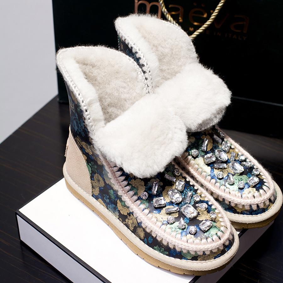 Winter Sheepskin Snow Boots Print Genuine Leather Inside Natural Wool Women's Flat Rhinestone Straw Braid Women Shoes - Better&Better store