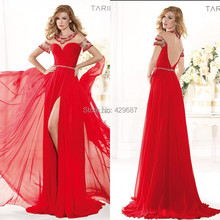 2014 Gorgeous Sheer Neck Short Sleeve A Line Party Sweep Train Prom Gown Beaded Front Slit Chiffon Red Evening Dresses UM613(China (Mainland))