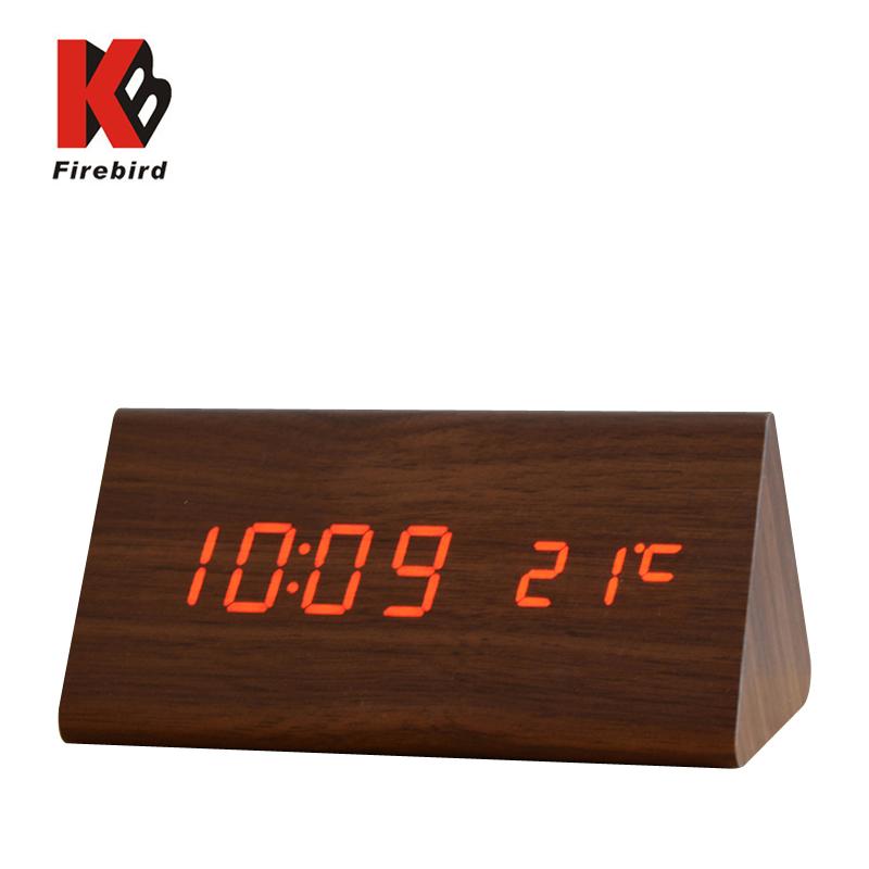 Big Number Digital White LED wooden alarm clock digital table retro alarm clock mute horloge led Glowing projector despertador(China (Mainland))