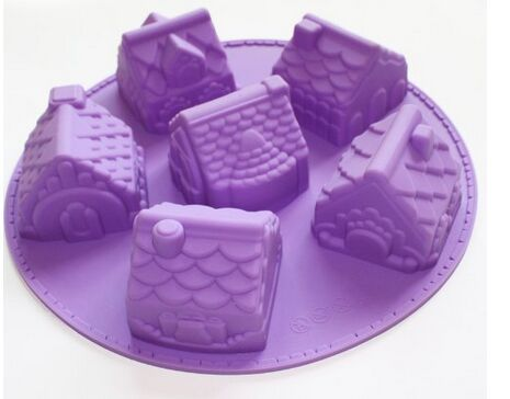 3d Mini Houses Bundt Cake Soap Christmas Gift Gingerbread Houses Silicone Mold(China (Mainland))