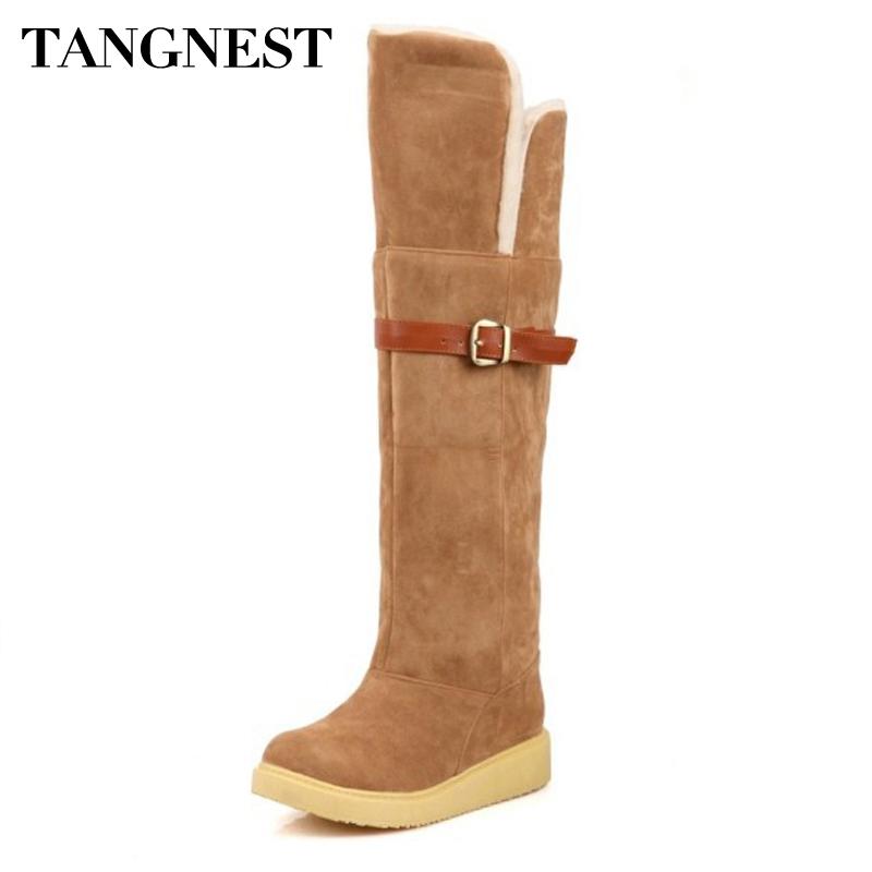 tangnest 2016 fashion snow boots high heel knee high