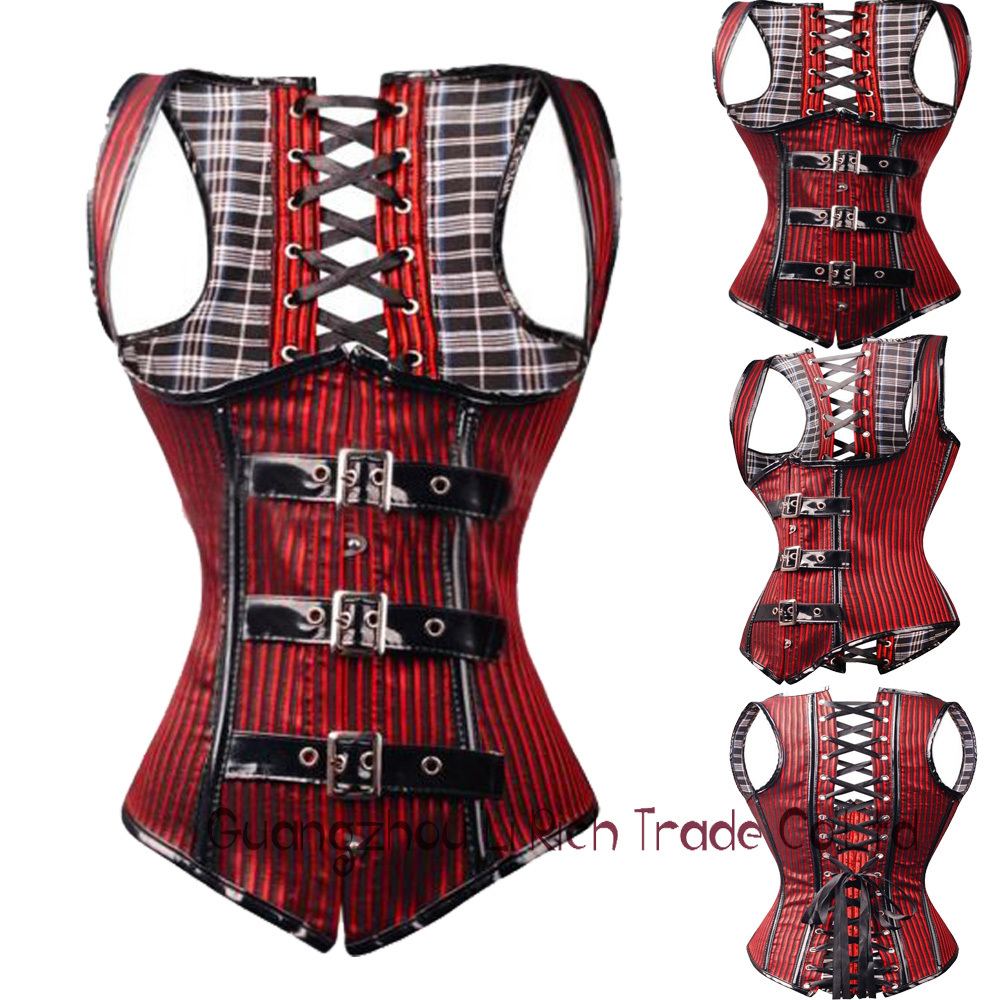 X Size S-2XL Steampunk Belt Buckle Lace up Bustier Top Corset Underbust Deep Red Sexy Women Lingerie Read Size Chart(China (Mainland))