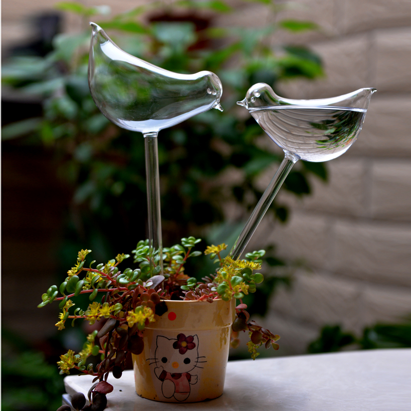 Bird Shape Design Hand Blown Clear Glass Self Watering Aqua Globes Small Plant Watering Bulbs(China (Mainland))