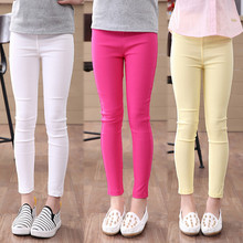 High Quality Girls Pencil Pants Spring Autumn Girls Leggings Pants Elestic Waist Children Kids Jeans Pants Solid Causal Jeans(China (Mainland))