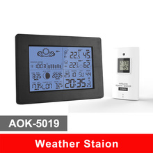 AOK-5019 Digital  Weather Station & In/Out Thermometer Temperature Humidity & RCC Radio Controlled Clock +C/F & RH Display