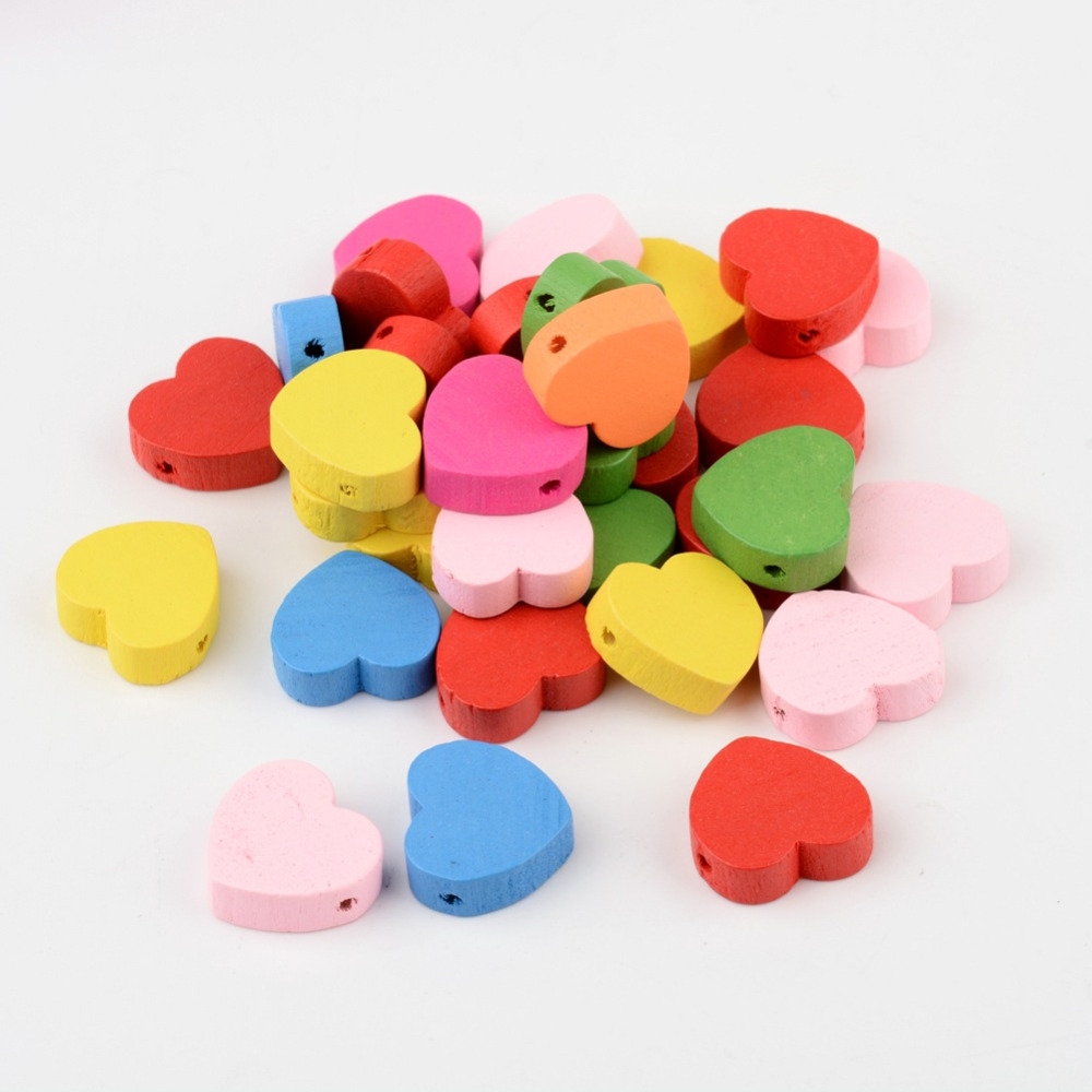 5Mixed Color Heart Wood Beads Nice Children's Day Jewelry Making Lead Free Dyed 18x18x6mm, hole: 2mm - PandaHall DIY store