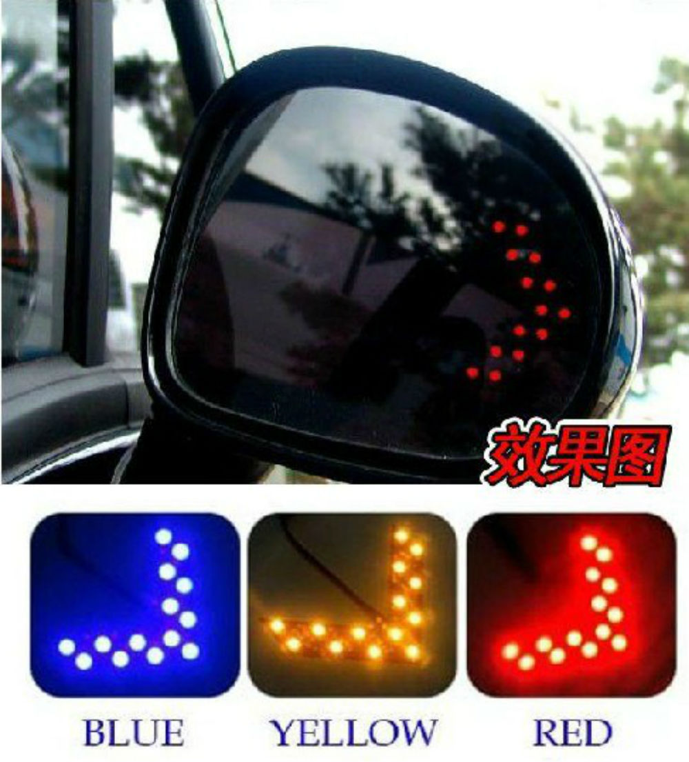 1 pair 14-SMD LED Arrow Lights Car Side Mirror Turn Signal light 5colors Free Shipping(China (Mainland))