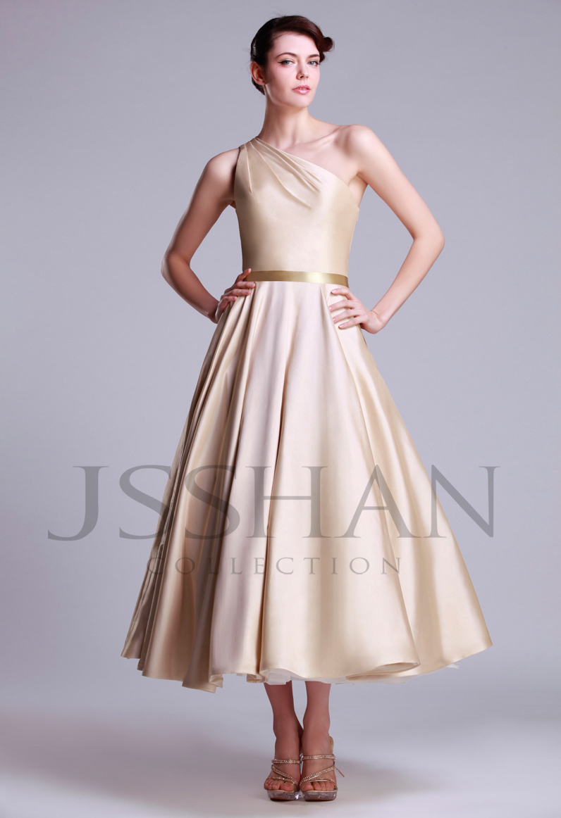 12w047 designer one shoulder ruched a line calf length for Mid length wedding dress