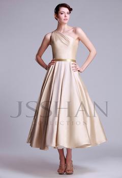 12W047 Designer One Shoulder Ruched A-Line Calf Length Taffeta Luxury Unique Brilliant Bridal Wedding Dress Wedding Gown
