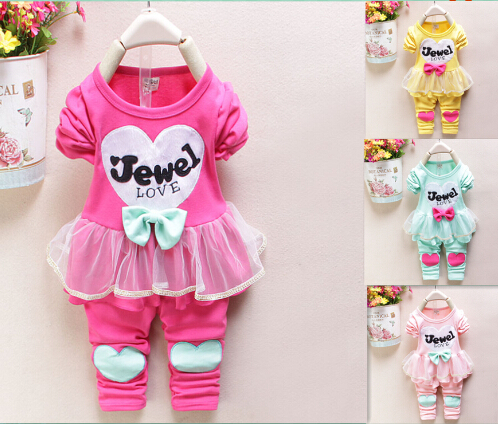 New 2015 Baby Girls clothing Set brand clothing Girls heart long suit girls baby set suits retail kids clothing sets(China (Mainland))