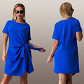 HOT Big size 6XL 2016 Summer Dress woman fashion bow solid patchwork Dresses Casual plus size