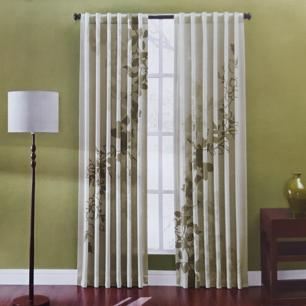 Luxury Printing With Emb Blinds Window Curtains Back Tab With Rod Pocket For Living Room Bedroom