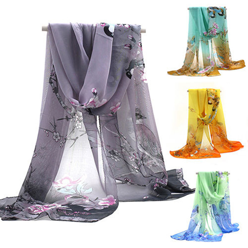 Fashion Women Chiffon Floral Printed Designer Scarf Autumn Gradient Plaid Flower Casual Silk Scarves Long Wrap