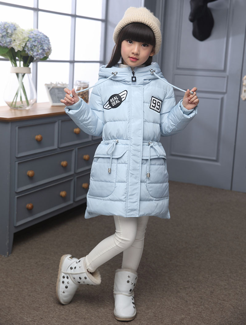 Çocuk aşağı ceket ve uzun bölümler kalın sıcak aşağı kapüşonlu ceket