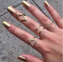 5 pcslot NEW fashion gold and silver Crystal Geometric Triangle Knuckle ring punk jewelry free shipping R-038