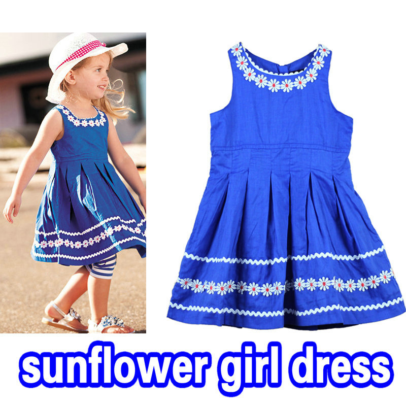 A-wind Brand 5pcs/lot 100% cotton girl birthday party princess dresses children clothing Australia baby girl sunflower dress(China (Mainland))