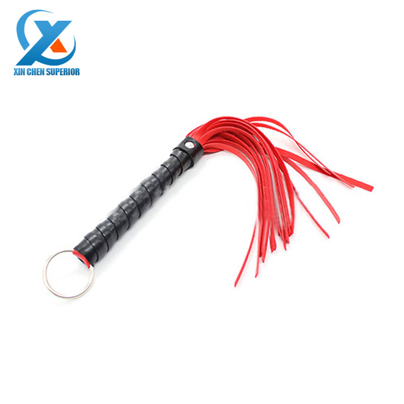 Sex Toys for Couple Adult Game Sexy Whip PU Leather Flirt Toys Red Lash Black Handle Erotic Toy Flashlight Mask Products Clamps(China (Mainland))