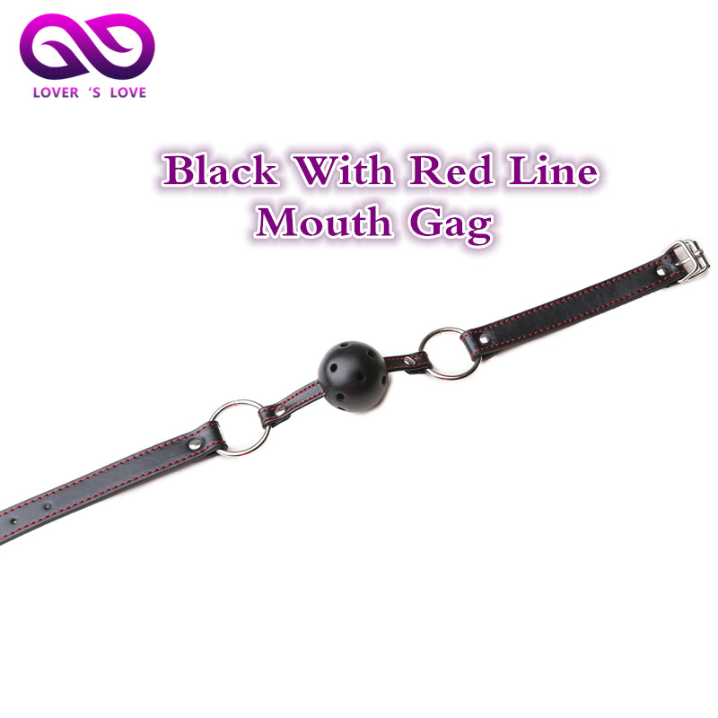 Black red line Mouth stopper leather rivets mouth gag erotic toys sex toys for men proextender gag sextoys adults for women(China (Mainland))