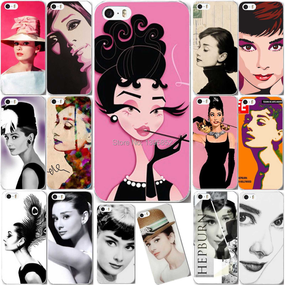 Free shipping Elegant Lady Audrey Hepburn Painted Hard Plastic Cell Phone Skin Cover for iPhone5 5S(China (Mainland))