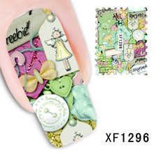1Pcs Nail Art Water Transfer Sticker Nails Beauty Wraps Foil Polish Decals Temporary Tattoos Watermark Lovely Doll Girly Pattern