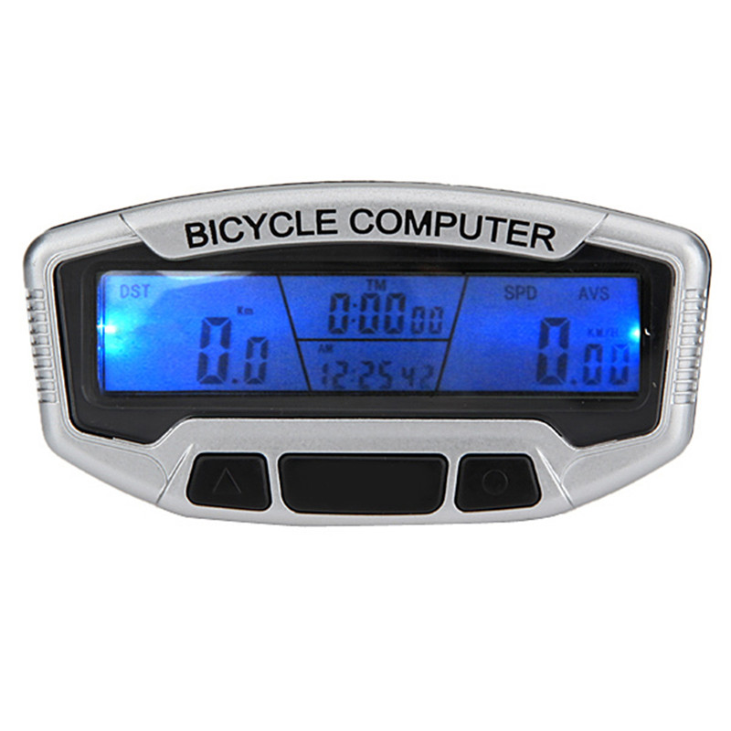 Touch Button LCD Backlight Bike Computer Stopwatch Bicycle Speedometer Odometer 28 Functions Waterproof Cycling+Bracket(China (Mainland))