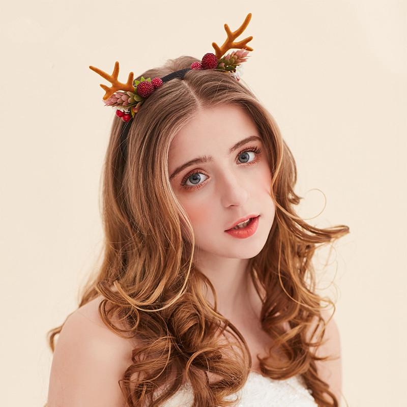 Horn Headband Flower Hair Accessories Festival Flowers Hairband Succulents Headbands Flores Bandeau Accessoire Cheveux WIGO0848(China (Mainland))
