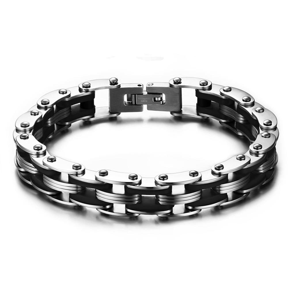 custom jewelry 210mm Men's Silver Motor Biker Chain Bracelet 316L Stainless Steel Huge Heavy Black Silver Fashion Bracelet(China (Mainland))