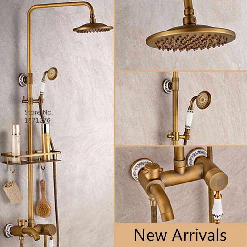 """New Free shipping bathroom shower faucet 8""""Antique Brass Adjust Height Handheld Shower Bath Tap Wall Mount Shower Set(China (Mainland))"""
