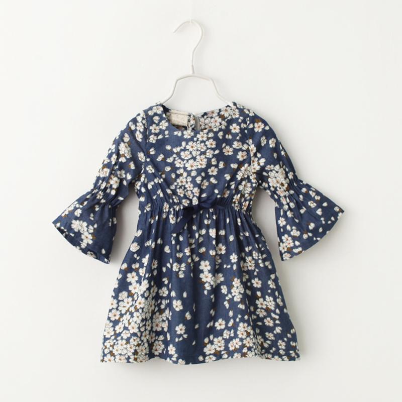 2016 New Girl Clothes Princess Dresses Denim Dress Floral Print Jean Dress Children Clothing<br><br>Aliexpress
