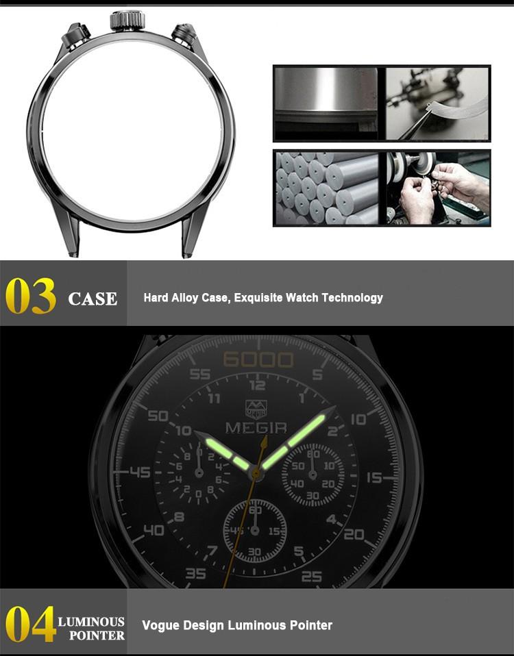 2508 Натуральная Кожа Часы Мужчины Luxury Brand Хронограф Авто Дата Спортивные Часы Мода Повседневная Наручные Часы Бесплатная Доставка
