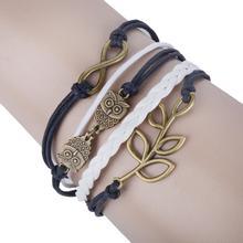 Wholesale Multilayer Braided Bracelets Retro Copper Double Owl Tree Branch Infinity Bracelet Woven Leather Bracelet & Bangle