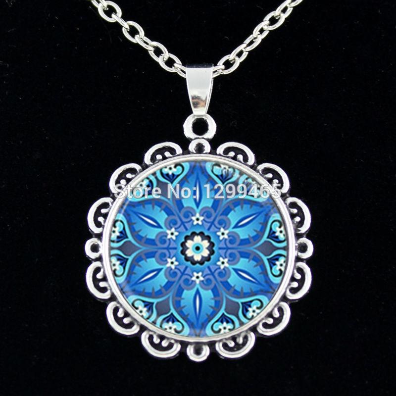 Mandala Religious jewelry Spiritual amulet Sacred geometry chain Necklace Mandala flower necklace glass cabochon pendant C 011(China (Mainland))