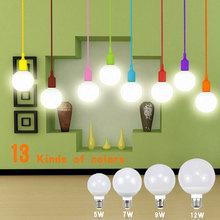 1Pcs Romantic13 Colors lamp Holder Base / E27 5W 7W 9W 12W LED lamp Bulb 85V-265V For Indoor Pendant Ceilling light lighting(China (Mainland))